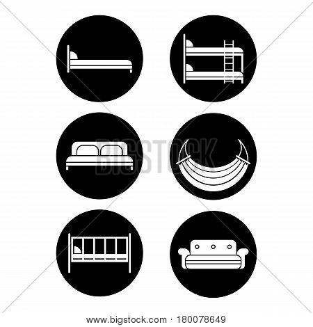 Six black round icons of bed silhouettes graphic design isolated on white. Vector illustration of children bed, soft sofa, double bedstead front and side view, two-story doss, summer hammock.