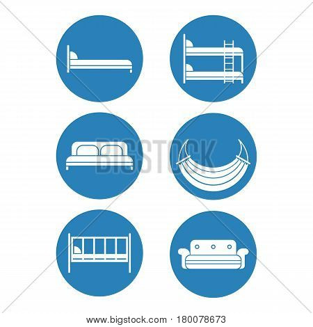 Six blue round icons of bed silhouettes graphic design. Vector illustration of children bed, soft sofa, double bedstead front and side view, two-story doss, summer hammock.