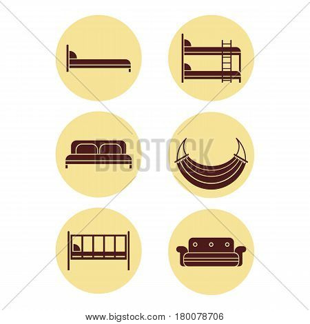 Six brown round icons of bed silhouettes graphic design. Vector illustration of children bed, soft sofa, double bedstead front and side view, two-story doss, summer hammock.