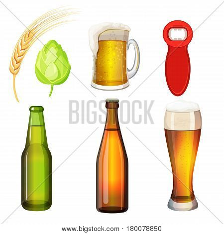 Set of bottles and glasses with beer art icon isolated on white. Vector illustration of barley grains, green malt, red bottle opener, green and brown flasks, tall and thick tumblers with glass handle.
