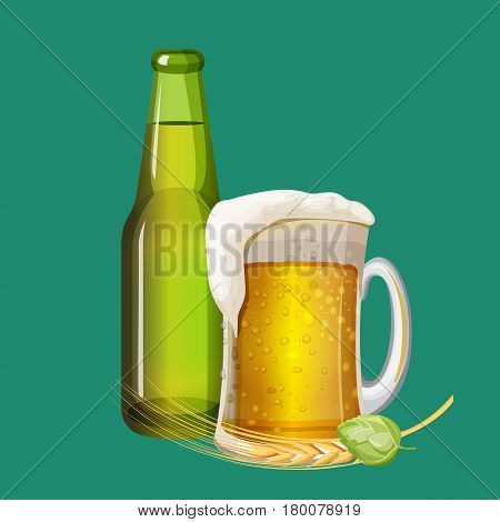 Green beer bottle and frothy drink in glass mug on turquoise background. Golden barley grains and green malt laying near big cup with handle. Vector illustration cartoon style art icon.