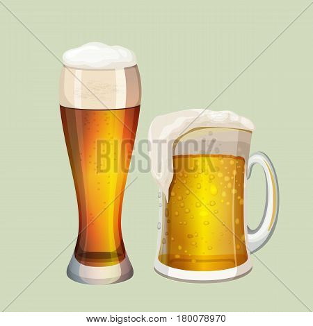 Two big glasses with frothy beer graphic icon on gray background. White foam got through top in thick mug with glass handle. Visible bubbles in gold beverage. Vector illustration flat design.