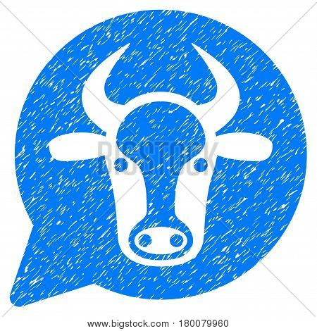 Grunge Cow Message Balloon rubber seal stamp watermark. Icon symbol with grunge design and dirty texture. Unclean vector blue sign.