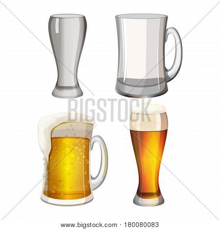 Collection of empty beer mugs and with light alcohol beverage isolated on white. Glass transparent cups with foam, set of beer vessels with handles and in long glasses vector illustration