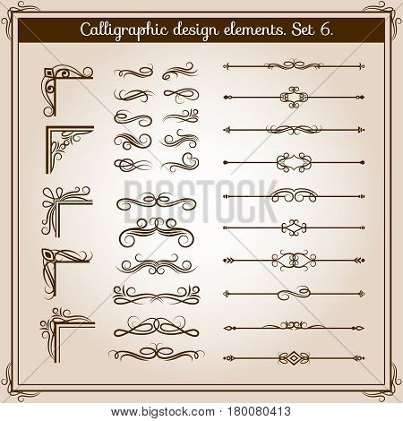 Vintage linear vector ornate decorative elements. Retro flourish line dividers, corners and swirls for page decoration. Illustration of retro elements for typographic design