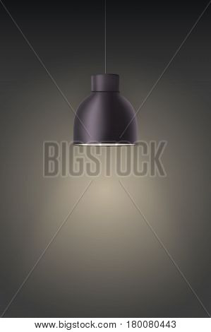 Vintage Black Metal stylish cone lamp on dark wall. Original Retro design. Hang ceiling model. Vector illustration Isolated on white background.