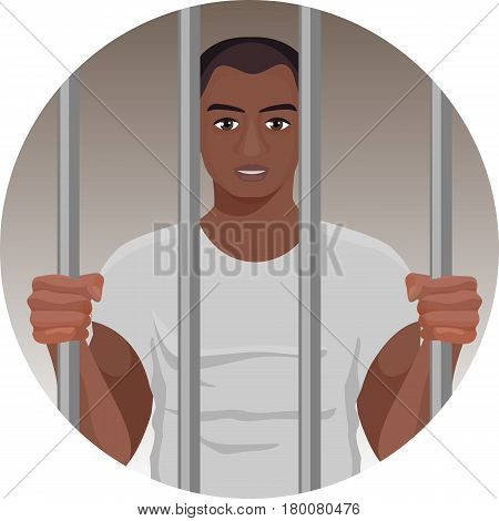 Black skin man behind bars in round button isolated on white background. Afro american male in the prison. Vector illustration of prisoner