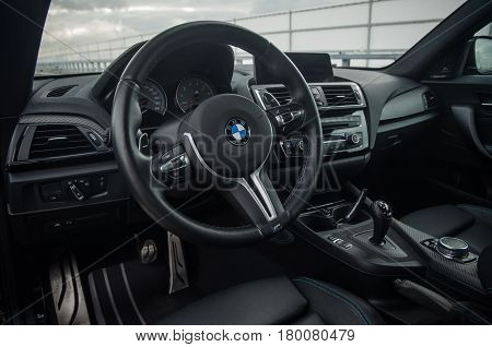 Russia, Moscow - September 24, 2016. Bmw M2 Sports Car With Performance Pack, Interior View