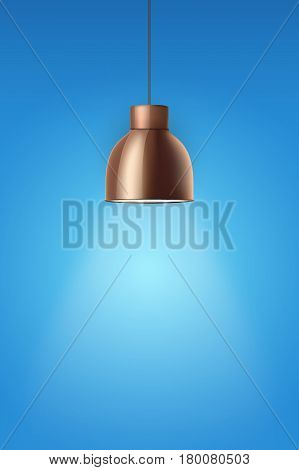 Vintage Brass stylish cone lamp on blue painting wall. Original Retro design. Hang ceiling model. Vector illustration Isolated on white background.