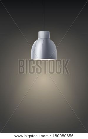 Vintage chrome stylish cone lamp on dark wall. Original Retro design. Hang ceiling model. Vector illustration Isolated on white background.