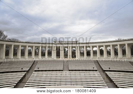 Arlington, USA - April 9, 2010: Arlington Amphitheater at Arlington National Cemetery, Virginia.