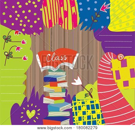 Educational background with abstract design and books - vector graphic illustration
