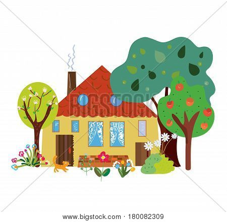 Farm house in the countryside cartoon - vector graphic illustration