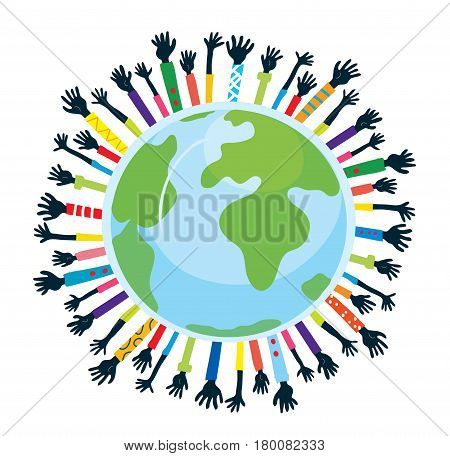 Conception of unity and support with globe and hands - vector graphic illustration