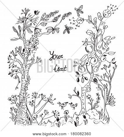 Nature design frame with flowers and trees for the stationery or card - vector graphic illustration