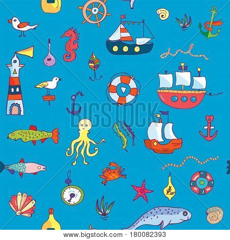 Marine life seamless pattern funny doodle for textiles or wallpaper - vector graphic illustration