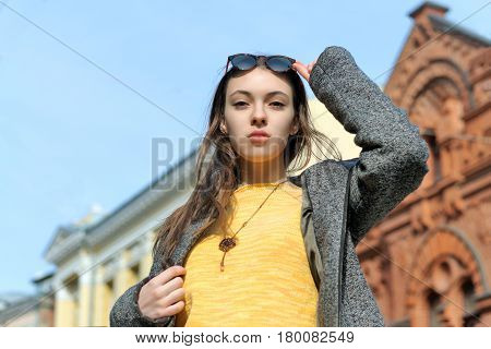Portrait Of A Fashionable Beautiful Girl