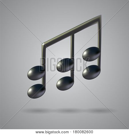 Music note icon on grey background. 3d realistic vector illustration created with gradient mesh.
