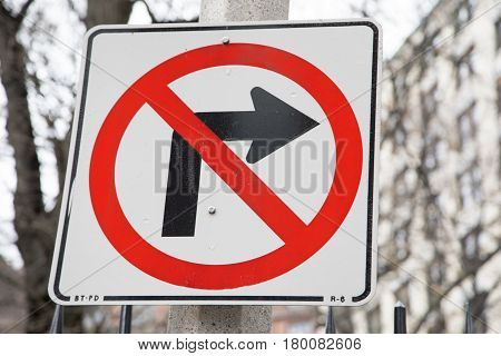A no right hand turn street sign