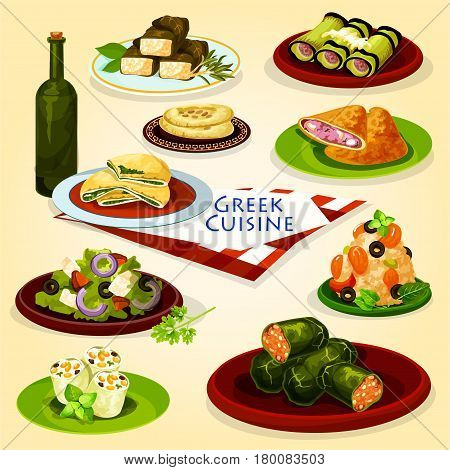 Greek cuisine healthy lunch menu poster. Greek vegetable salad with feta cheese, pita bread with spinach, meat pie, garlic bread, seafood risotto, stuffed grape leaf dolma, eggplant roll with meat