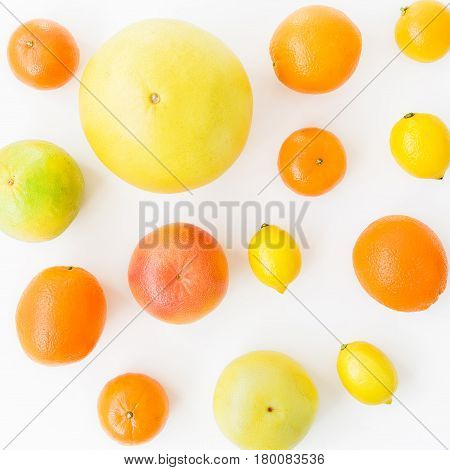 Grapefruit and lemon, orange and sweetie on white background. Flat lay, top view. Food background