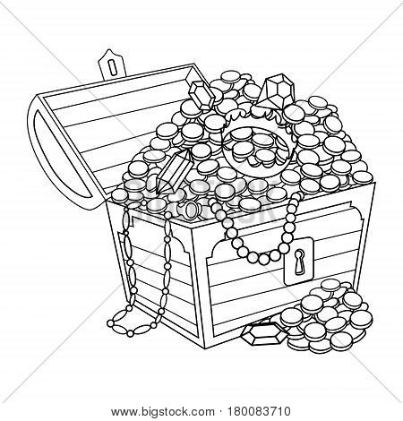 Chest with gold and jewels coloring book vector illustration