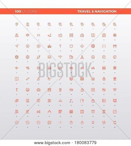 UI icons of navigation map elements travel guides and informational sign route destination tourism infographics. 32px simple line icons set. Premium quality symbols and sign web logo collection.