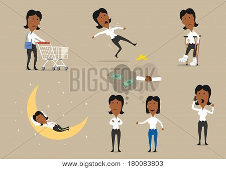Businesswoman character set. Young businesswoman talking by phone, sleeping, shopping with cart, discussing a project with colleague, slipped on banana, standing on crutches with bandage on both legs