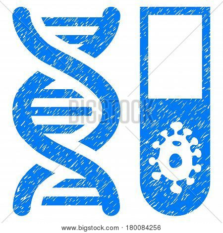 Grunge Hitech Microbiology rubber seal stamp watermark. Icon symbol with grunge design and scratched texture. Unclean vector blue sticker.