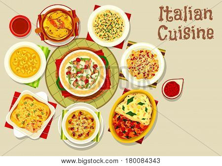 Italian cuisine traditional pasta icon with baked tomato and cheese, spaghetti with anchovy, lasagna with seafood, rabbit and pumpkin spinach fillings, meat dumpling soup, bean stew, ham vegetable pie