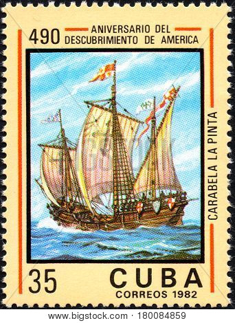 UKRAINE - CIRCA 2017: A postage stamp printed in Cuba shows caravelle Pinta from the series Anniversary of the 490 discovery of America circa 1982