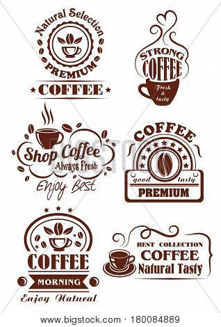 Coffee shop and cafe label set. Coffee cup of natural strong espresso or sweet cappuccino brown symbols with coffee bean, swirls of steam, ribbon banner and star decoration. Cafe signboard design