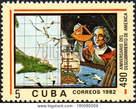 UKRAINE - CIRCA 2017: A postage stamp printed in Cuba shows Christopher Columbus from the series Anniversary of the 490 discovery of America circa 1982
