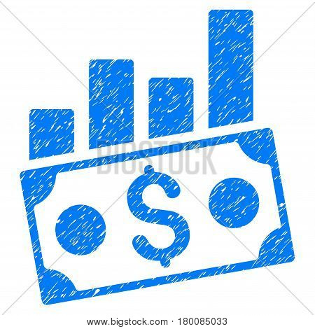Grunge Money Charts rubber seal stamp watermark. Icon symbol with grunge design and dirty texture. Unclean vector blue sign.