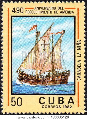 UKRAINE - CIRCA 2017: A postage stamp printed in Cuba shows caravelle Nina from the series Anniversary of the 490 discovery of America circa 1982