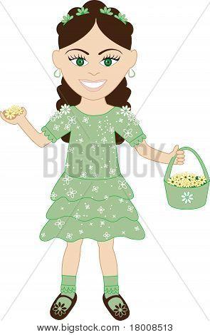 Green Dress Flower Girl