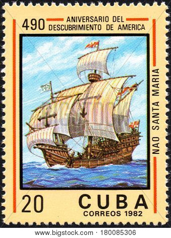UKRAINE - CIRCA 2017: A postage stamp printed in Cuba shows ship Santa Maria from the series Anniversary of the 490 discovery of America circa 1982