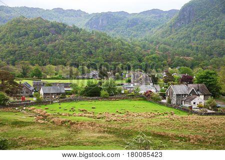 Village in Lake District, Cumbria,  England, UK.