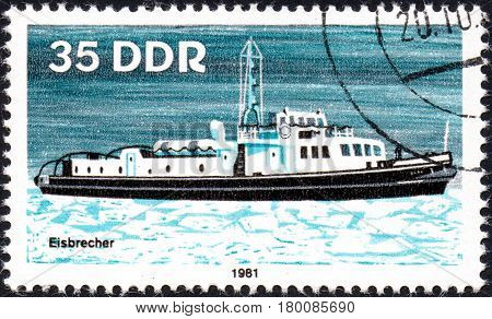 UKRAINE - CIRCA 2017: A postage stamp printed in DDR shows Ice Breaker River Boat circa 1981