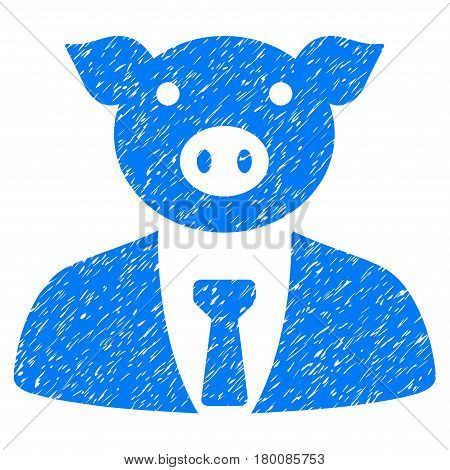 Grunge Pig Boss rubber seal stamp watermark. Icon symbol with grunge design and scratched texture. Unclean vector blue sticker.