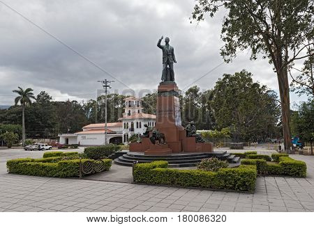 Monument of the former Costarican president Leon Cortes Castro in San Jose, Costa Rica