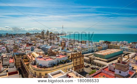 Highly detailed panoramic image of Cadiz Spain