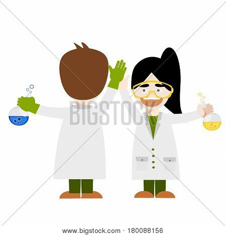 Cartoon chemistry concept. Children are studying and working in chemistry lab.