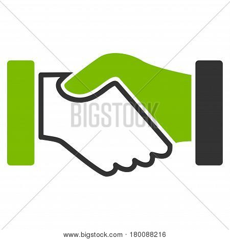 Acquisition Handshake vector icon. Flat bicolor eco green and gray symbol. Pictogram is isolated on a white background. Designed for web and software interfaces.