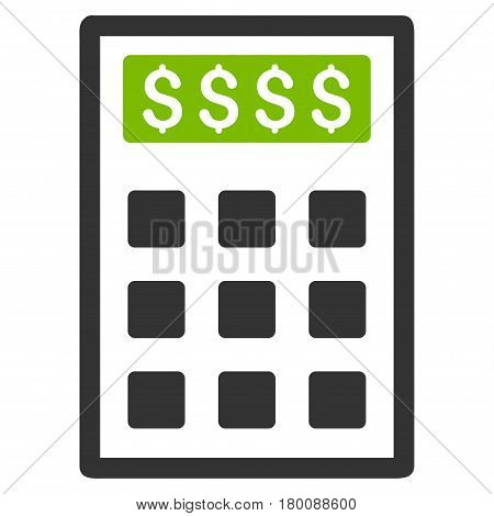 Book-Keeping Calculator vector icon. Flat bicolor eco green and gray symbol. Pictogram is isolated on a white background. Designed for web and software interfaces.
