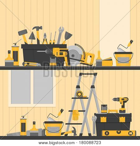 Home repair banner. Сonstruction tools. Hand tools for home renovation and construction. Flat style vector illustration.