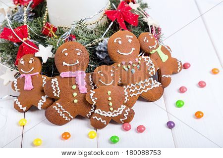 Gingerbread man gingerbread Christmas. Cheerful holiday gingerbread.