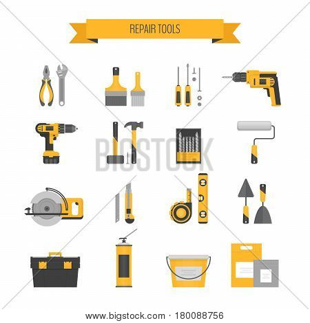 Home Repair Icon Set. Сonstruction Tools. Hand Tools For Home Renovation And Construction. Flat Styl