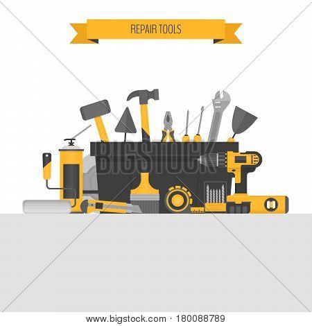 Home repair objects. Сonstruction tools. Hand tools for home renovation and construction. Flat style vector illustration.