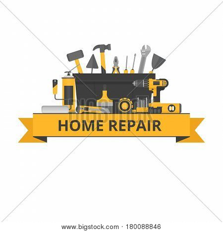Home repair objects. Construction tools. Hand tools for home renovation and construction. Flat style vector illustration.